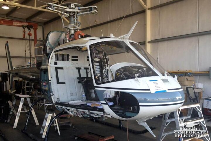 AS355 helicopter in inspection