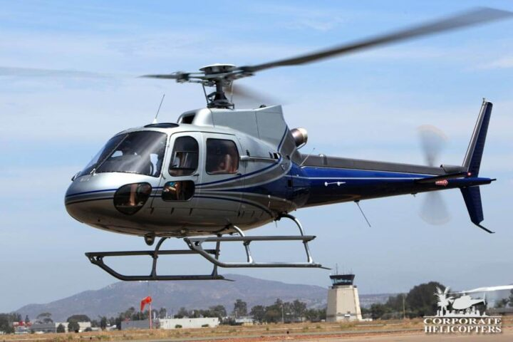 As350B2 Helicopter taking off
