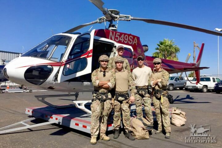 Helicopter Rappeling crew from Skydiving Innovations