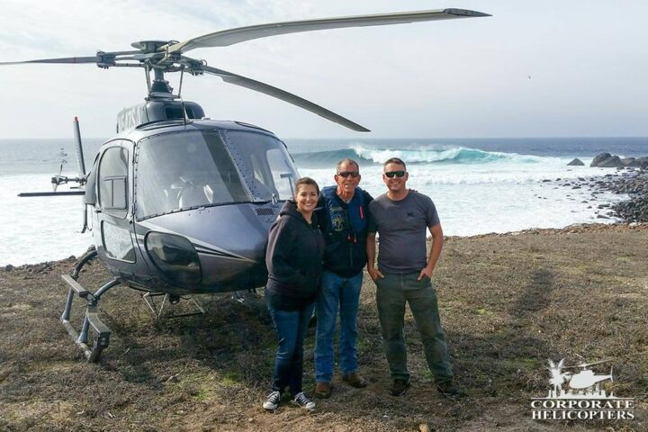 Corporate Helicopters staff in front of helicopter on Todos Santos