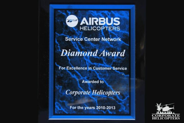 Airbus Helicopters Diamond Award for excellence in customer service, awarded to Corporate Helicopters for the years 2010-2013