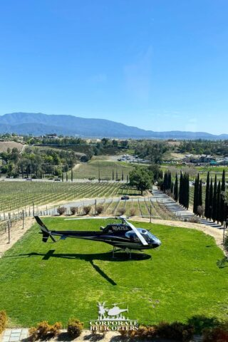 Helicopter at Callaway Winery. Corporate Helicopters of San Diego.
