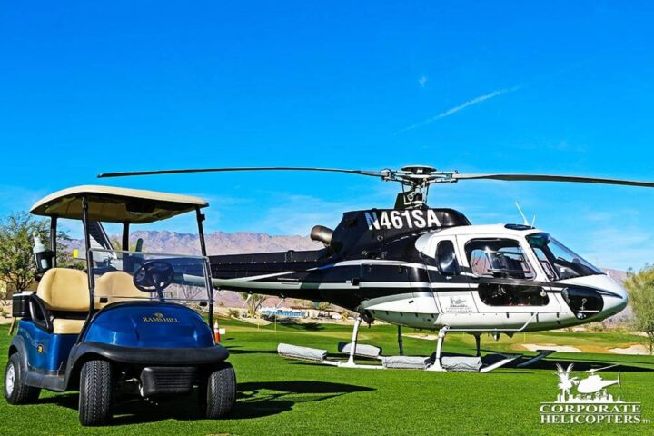 Helicopter and golf cart on golf course