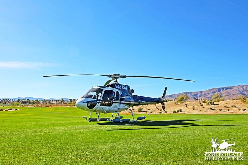 Helicopter on golf course