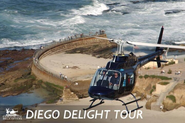 Helicopter tour of San Diego over the Children's Pool in La Jolla, California.