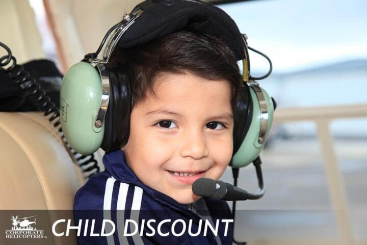 Chidl Discount: Child inside of a helicopter