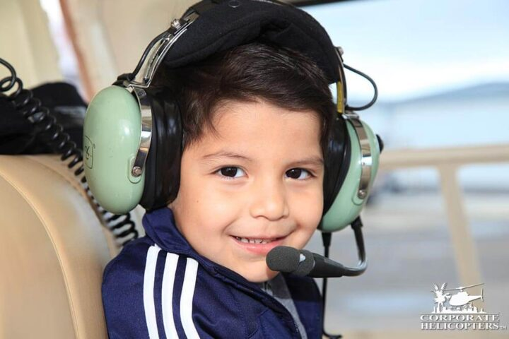 Child inside of a helicopter
