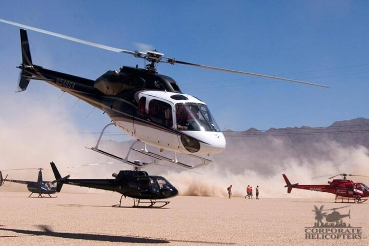 A group of helicopter in the desert