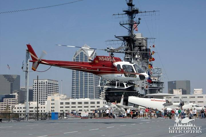Helicopter landing on the Midway aircraft carrier.
