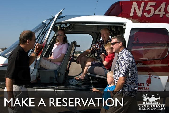 Make a reservation for a helicopter tour in San Diego