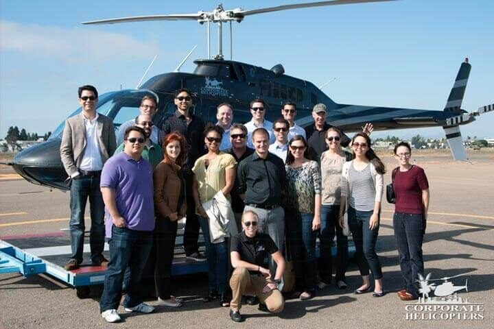 Group helicopter tour of Baja Mexico.