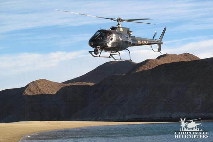 Aerial land survey by helicopter of Baja Mexico