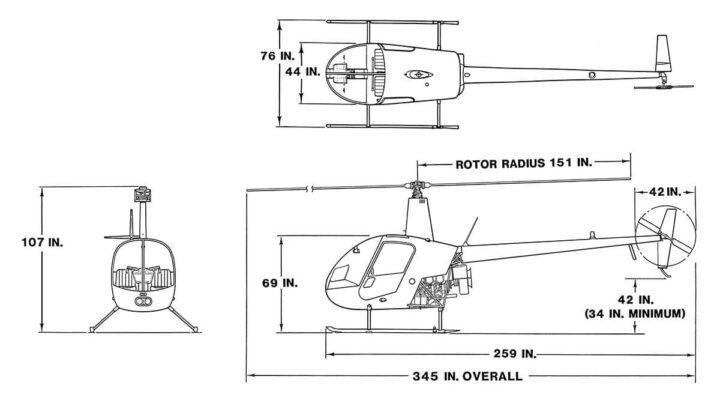 Robinson R22 Beta II Dimensions