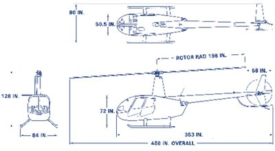 R44 Raven I and II dimensions