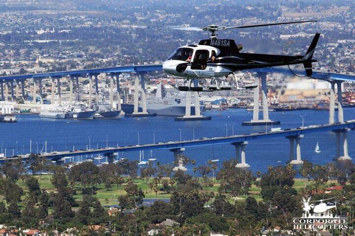Helicopter flying nearby the Coronado Bridge