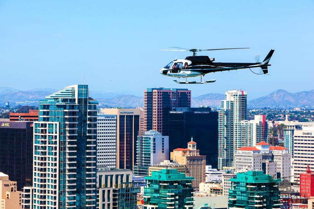 Downtown San Diego skyline. Helicopter tour from Corporate Helicopters of San Diego.