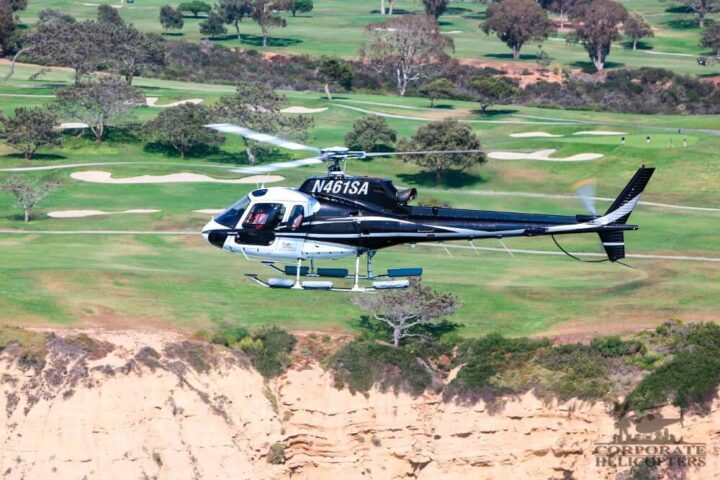 Helicopter tour from Corporate Helicopters of San Diego. Flying over the Torrey Pines Golf Course in La Jolla.