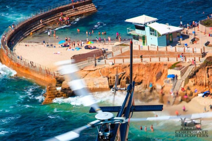 Helicopter tour from Corporate Helicopter of San Diego. In this picture, the helicopter is flying over Children's Pool in La Jolla.