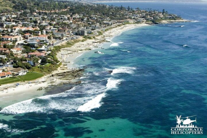 Reef structures over La Jolla. Helicopter tour from Corporate Helicopters of San Diego.