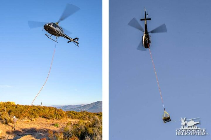 Helicopter towing equipment via long line