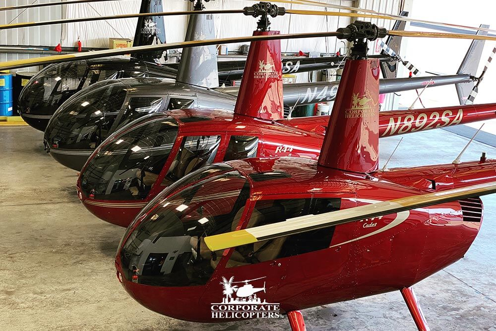 Robinson R44 helicopters at Corporate Helicopters of San Diego.