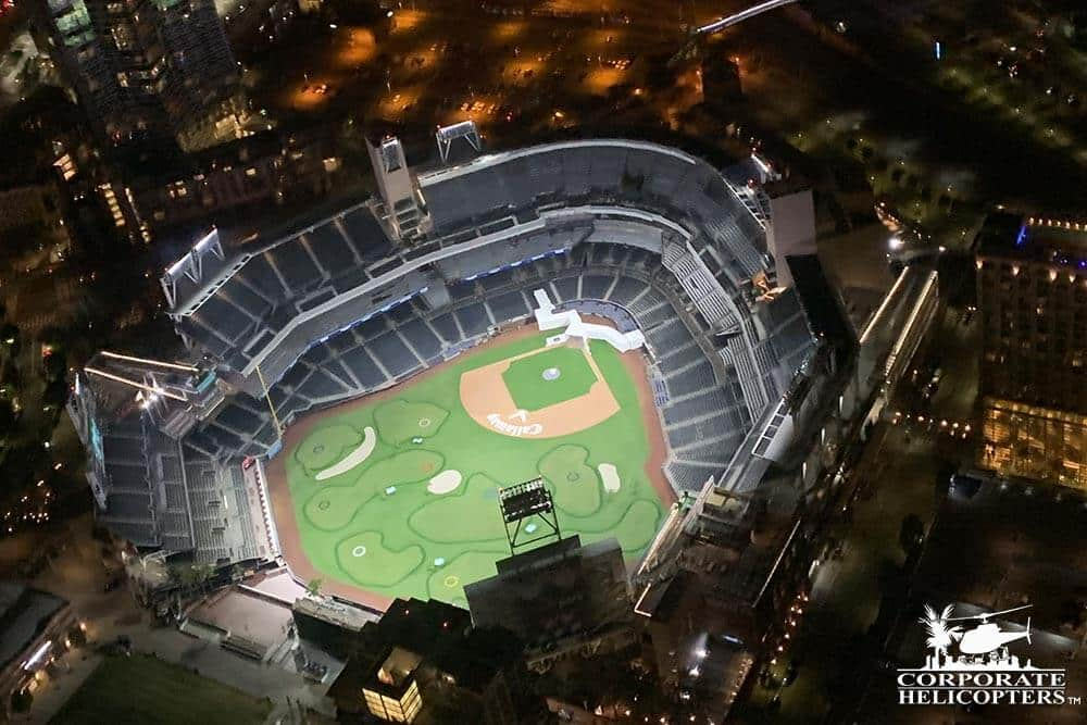 Petco Park. Shot during the 'San Diego City Lights' holiday night time helicopter tour from Corporate Helicopters.