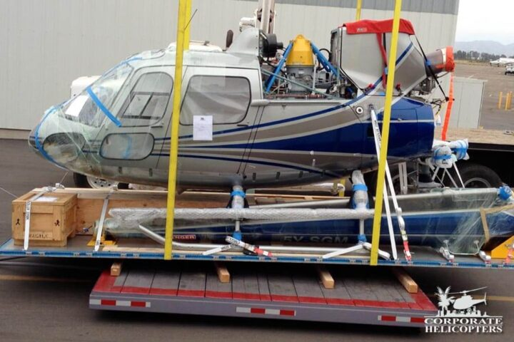 Helicopter being prepared for shipping