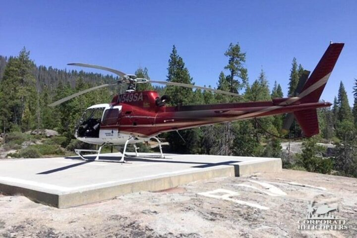 Checking Electrical Poles For Fire Risk Over the Sierra Nevada Mountains. Corporate Helicopters