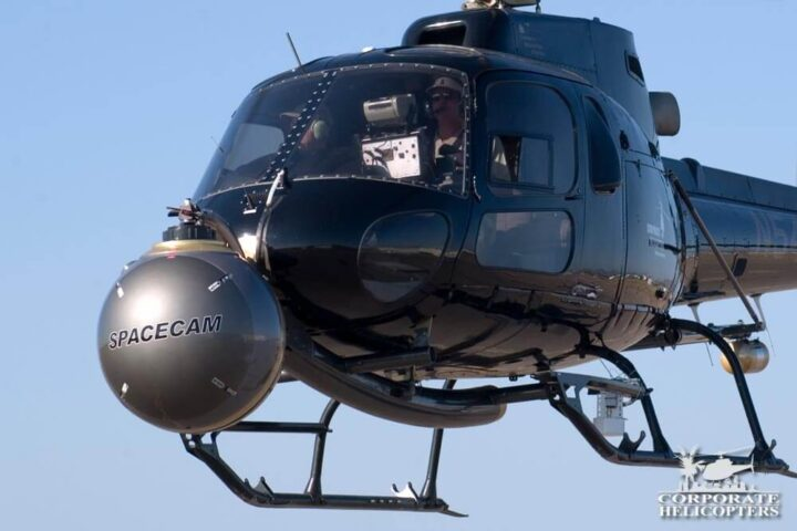 Spacecam mounted to a helicopter nose