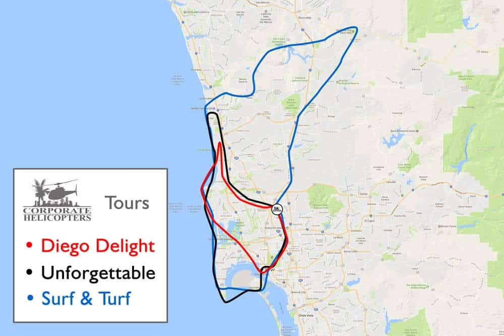 Map shows tour routes for the 3 main tours from Corporate Helicopters