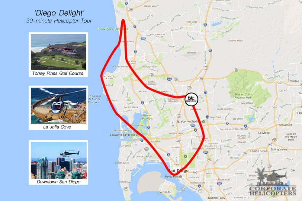 Diego Delight Tour Map - Corporate Helicopters