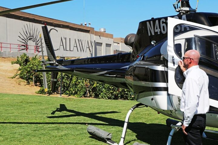 Helicopter and pilot at Callaway Winery