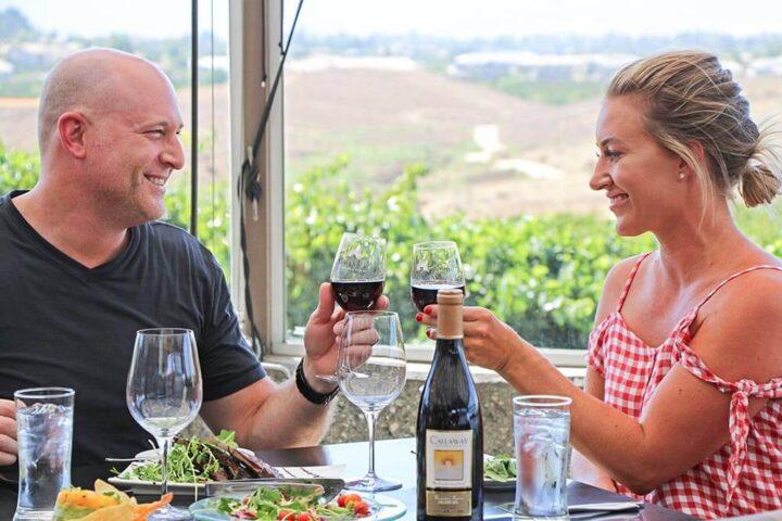Couple enjoying wine at Callaway Winery
